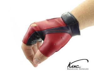 Męskie skórzane rękawiczki bez palców - czerwono-granatowe - 2824939106
