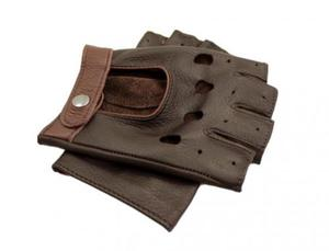 d394ae465ede2 Wygodne męskie brązowe rękawiczki bez palców - skóra z jelenia - 2824939108