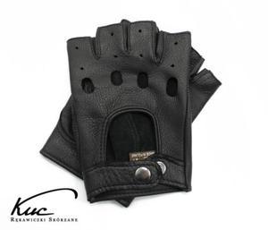 Rękawiczki bez palców ze skóry jelenia - rękawiczki rowerowe, samochodowe - kolor czarny - 2850214296