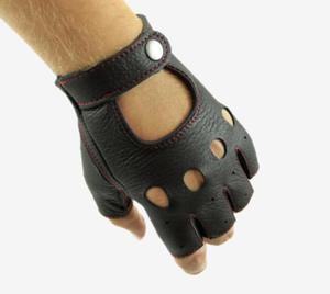 Rękawiczki bez palców ze skóry jelenia - rękawiczki rowerowe, samochodowe - z czerwonym szwem - 2853088099