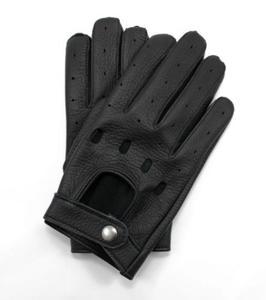 Czarne rękawiczki samochodowe ze skóry jelenia - rękawiczki do prowadzenia auta - 2853088100