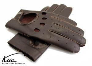 Skórzane rękawiczki samochodowe brązowe z beżowym szwem - 2856558695