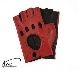 Rękawiczki bez palców, rowerowe, samochodowe - Marlenki - czarno-czerwone - 2824938960