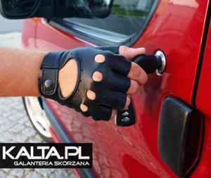 Rękawiczki skórzane bez palców, samochodowe, rowerowe - 2824938933