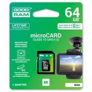karta pami?ci GOODRAM microSDXC 64GB M3AA class 10 UHS-I U3 MLC 90/95MB/s - 2840776689