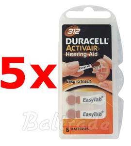 30 x baterie do aparatów s?uchowych Duracell ActivAir 312 - 2840777427
