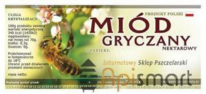 Paczka etykiet na MIÓD GRYCZANY (100szt) - wzór E14 - Paczka etykiet na MIÓD GRYCZANY (100szt) - wzór E14 - 2825618644