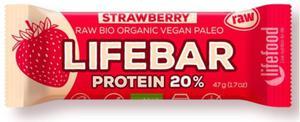 Baton truskawkowy proteinowy z białkiem ryżowym BIO - Lifefood - 47g - 2880547974