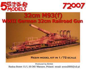 5 Star Models 72007 - Niemieckie działo 32cm M93(f) (1/72) - 2824101917