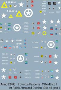 Armo 72408 - 1 Dywizja Pancerna 1944-46 cz.1 (kalkomania 1/72) - 2824103514