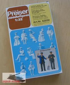Preiser 63032 Engine-driver, Stoker and Passengers, 1900 (1:32) - 2824106131