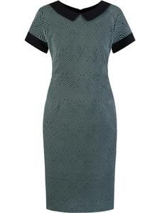Sukienka damska Telinda VIII, elegancka kreacja z modnym kołnierzykiem. - 2847748335