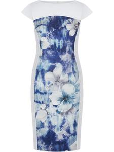 Wyszczuplająca sukienka z kwiatową wstawką Elstera II, modna kreacja na wiosnę. - 2848020417