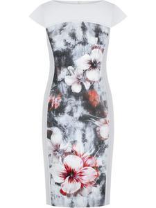 Wyszczuplająca sukienka z kwiatową wstawką Elstera I, modna kreacja na wiosnę. - 2848020418
