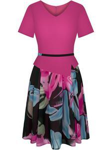 Sukienka z baskinką Klaudyna XIV, wiosenna kreacja w modnych kolorach. - 2847748539