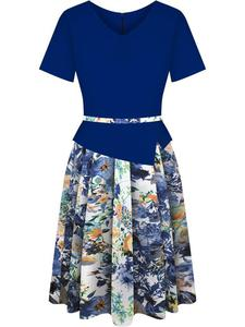 Sukienka z baskinką Klaudyna XV, wiosenna kreacja w modnych kolorach. - 2848452723