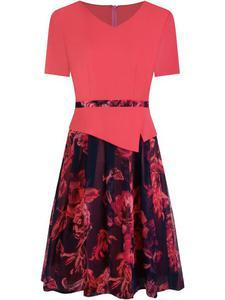 Sukienka z baskinką Klaudyna XVI, wiosenna kreacja w modnych kolorach. - 2848452842