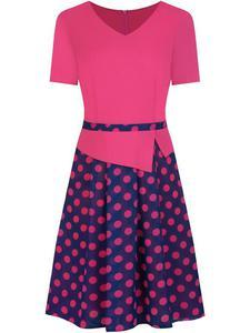 Sukienka z baskinką Klaudyna XIX, wiosenna kreacja w modnych kolorach. - 2849227785