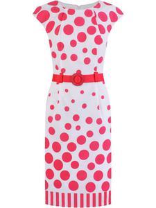 Sukienka w groszki Ryma II, wiosenna kreacja z paskiem. - 2850200953