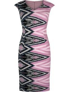 Sukienka damska Klarens XIV, wiosenna kreacja w wyszczuplającym wzorze. - 2850618250