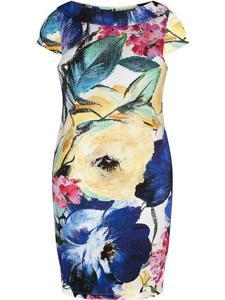 Sukienka z kwiatowym nadrukiem Judytta I, bawełniana kreacja na wiosnę.