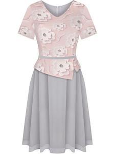 Sukienka z baskinką Klaudyna XXII, wiosenna kreacja w modnych kolorach. - 2852411607