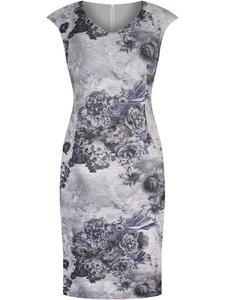 Sukienka z wzorzystej koronki Nonna, elegancka kreacja w modnych odcieniach fioletu. - 2852411610