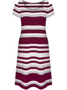 Dzianinowa sukienka w modne paski Floriana, trapezowa kreacja na lato. - 2853334705