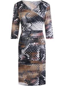 Elegancka sukienka w fasonie kopertowym Ramina II, kreacja w modne kwiaty. - 2853736101