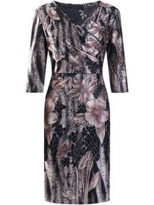Elegancka sukienka w fasonie kopertowym Ramina III, kreacja w modne kwiaty. - 2853736103