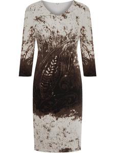Sukienka z dzianiny Nadia II, jesienna kreacja w modnym wzorze. - 2857450926