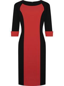 Sukienka z ozdobnymi mankietami Żaneta II, modna kreacja do pracy. - Żaneta II czerwono-czarna - 2824753365