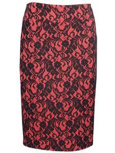 Dzianinowa spódnica wykończona koronką Izma III. - Spódnica damska Izma III, czerwono-czarna - 2824753370
