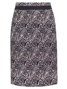 Spódnica damska Jaśmina II, elegancka kreacja z tkaniny żakardowej. - Spódnica damska Jaśmina II - złota. - 2824753416