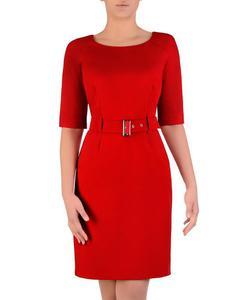 Sukienka damska Akira III, czerwona kreacja z paskiem podkreślającym talię. - Sukienka damska Akira...