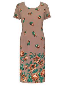 Prosta sukienka z atrakcyjnym nadrukiem Róża V, wiosenna kreacja w klasycznym fasonie. - Róża V - 2824753482