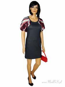 Modna sukienka z kolorowymi rękawami Aleksandra. - 2824753327