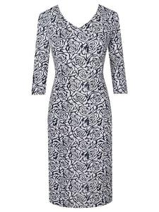Dzianinowa sukienka w modny, kwiatowy wzór Dina I. - Dina I - 2824753773