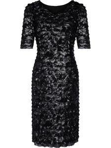 Błyszcząca suknia wieczorowa Martina, elegancka kreacja z falbankami. - 2824753790