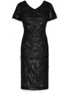 Atrakcyjna sukienka wieczorowa Ramira, mała czarna ozdobiona  - 2824753835