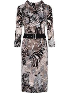 Sukienka w zwierzęcy deseń Filemona, modna kreacja z golfem. - 2824754163