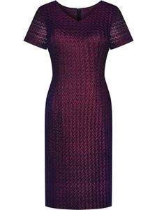 Sukienka wizytowa Dominika, damska kreacja w modnym bordowym kolorze. - 2824754302