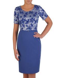 Sukienka na wesele Delfina, elegancka kreacja z tkaniny i koronki. - 2824754930