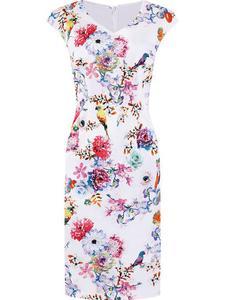 Bawełniana sukienka w kwiaty Inez I, wiosenna kreacja w modny wzór. - Inez I - 2824755423