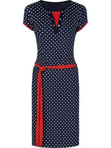 Sportowa sukienka z dzianiny Eliza IV, letnia kreacja w groszki. - Eliza IV - 2824755581
