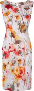 Klasyczna sukienka w kwiaty Blanka, wiosenna kreacja w żywych kolorach. - 2824755655