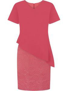 Modna sukienka wizytowa Benedykta I, koralowa kreacja na wesele. - Benedykta I - 2833955747