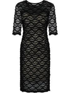 Koronkowa sukienka Wilhelmina IV, beżowo-czarna kreacja wyjściowa. - 2836487152