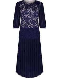 Długa sukienka wieczorowa Margaret III, elegancka kreacja z ozdobnymi plisami. - 2837831012