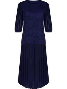 Długa sukienka wieczorowa Margaret II, elegancka kreacja z ozdobnymi plisami. - 2837831013